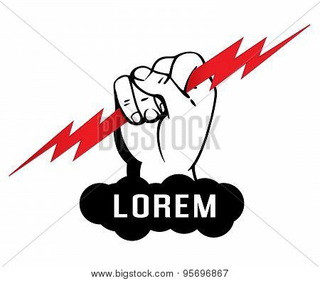 Logo template, Zeus arm, hand holding a lighting bolt, vector