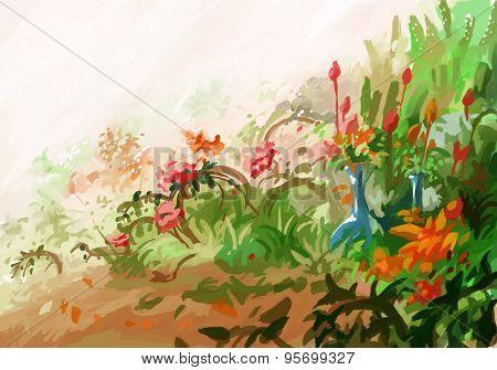 painting plant flower garden