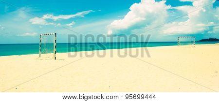 Beach Football Pitch Popular Sport On The Beach