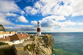 picture of gibraltar  - lighthouse of Europa Point in Gibraltar ann sea mediterranean - JPG