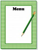 Menu, Green Gingham