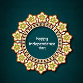 stock photo of indian independence day  - National flag color floral frame for Indian Independence Day celebration - JPG