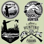 stock photo of duck-hunting  - set of vector patterns with duck dip gun hunter for hunting emblem - JPG