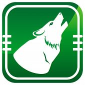 image of wolf moon  - Green icon wolf howling at the moon - JPG