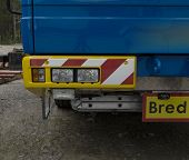 picture of boom-truck  - Headlights on a lorry from the front - JPG