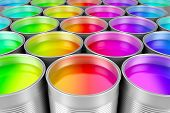 picture of cans  - Paint cans full of colorful paint - JPG