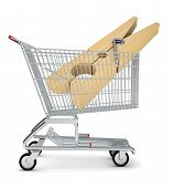 image of pegging  - Clothes peg in shopping cart on isolated white background - JPG