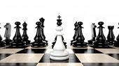 stock photo of foreground  - White Pawn in the foreground against a background of black army chips - JPG