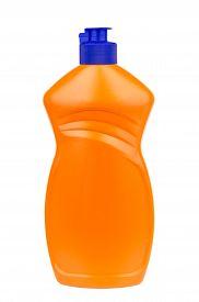 foto of detergent  - Liquid detergent in plastic orange bottle isolated on white background - JPG