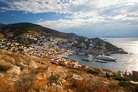 picture of hydra  - View of port of Hydra from a hill above the town - JPG