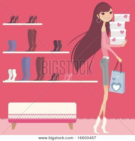 linda chica de compras