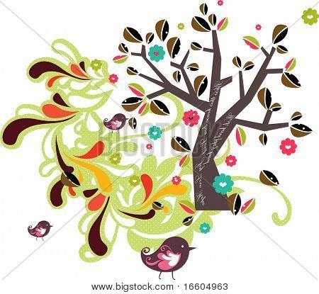 aves y árbol abstracto