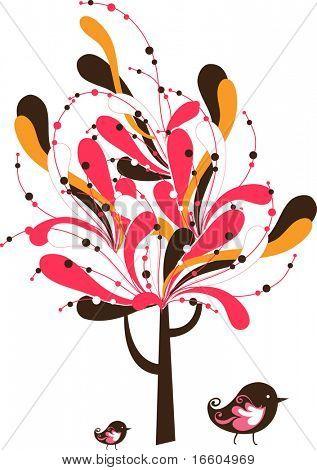 pájaro y árbol abstracto