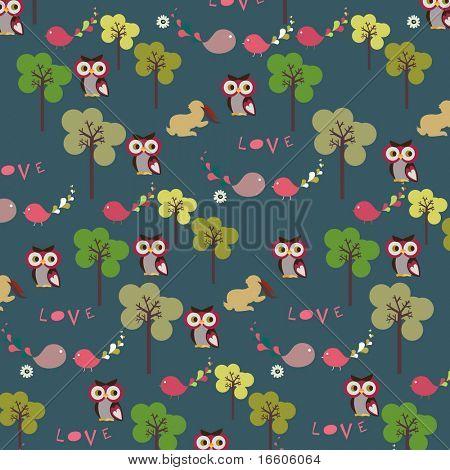 owl pattern wallpaper design