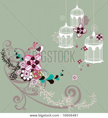 jaula de pájaro dulce flora