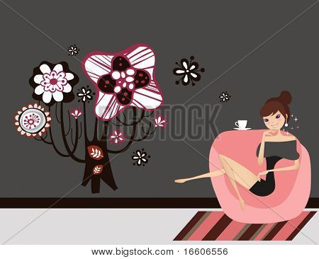 young woman is having her morning tea