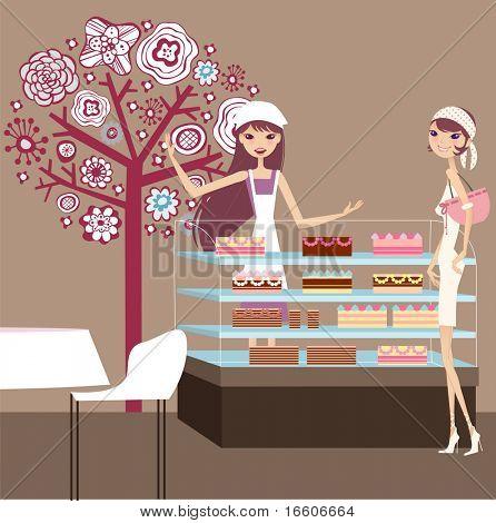 pretty girl choosing her cake