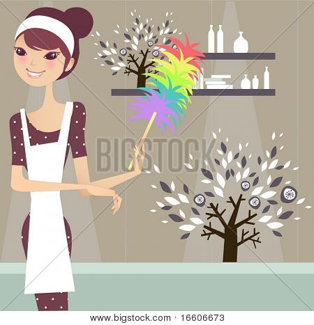 süße Mädchen, die Reinigung des Hauses