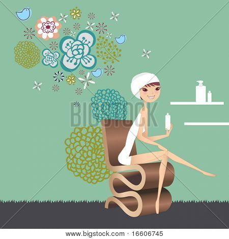 woman pampering herself and applying body lotion in the bathroom after the shower