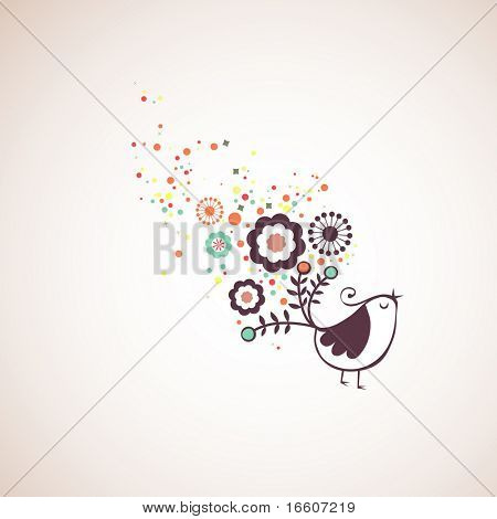 retro cute bird wallpaper design