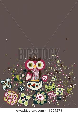 owl and flora background