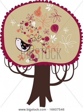 one big vector tree with bird