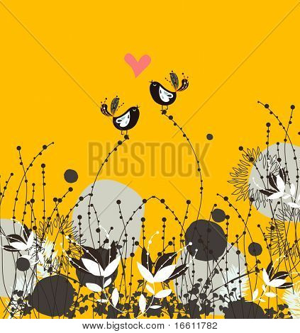 Valentine`s card with bird couple.