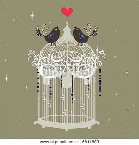 sweet little love bird on cage