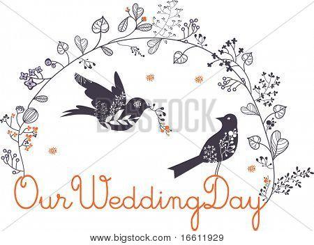 aves hermosas tarjeta de boda