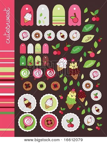 sweet cherry pink sticker set