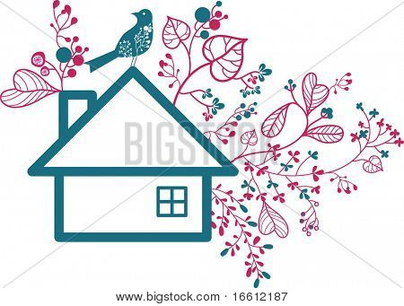 floral house and bird