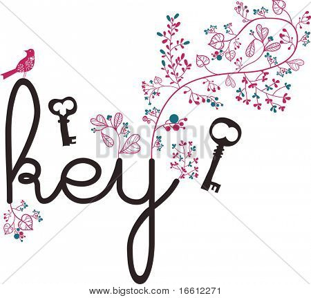 key text and bone wallpaper design