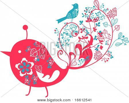 retro floral wallpaper with bird