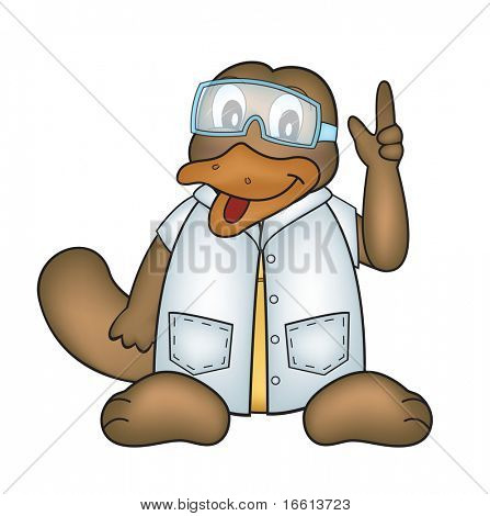 Illustration of a platypus in lab coat and goggles