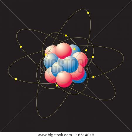 Atom with swirling electrons on black background