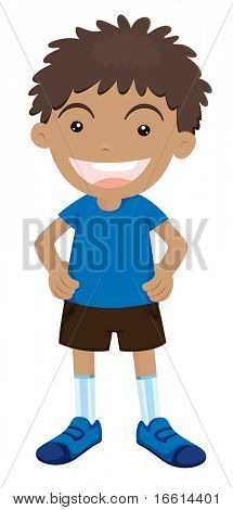 young boy illustration on a white background