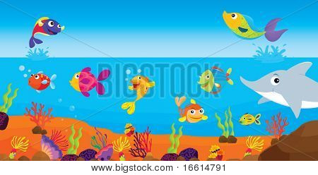tropical fish on a coral reef illustration