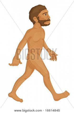 naked man walking illustration on a white background