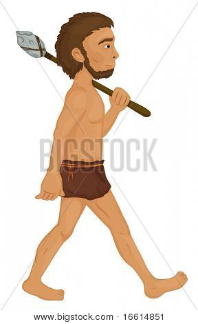 illustration of a caveman with spear - good detail