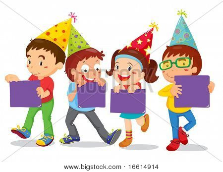 vector illustration of children celebrating and holding signs
