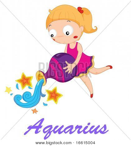 aquarius star sign illustration from set 1