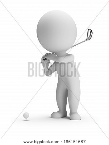 3d small person playing golf. 3d image. White background.