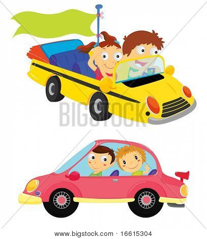 Illustration of cartoon kids in cars