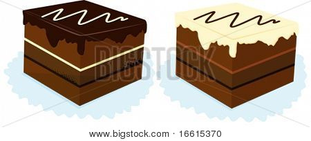 illustration of two pieces of cake