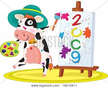 illustration of cow painting happy new year