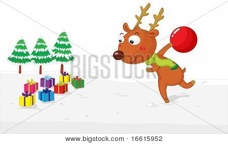 Illustration of a reindeer bowling down presents
