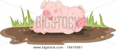 Illustration of a piglet and its mother
