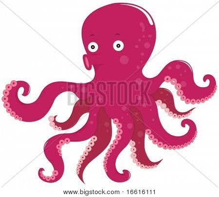 illustration of purple tentacled octopus