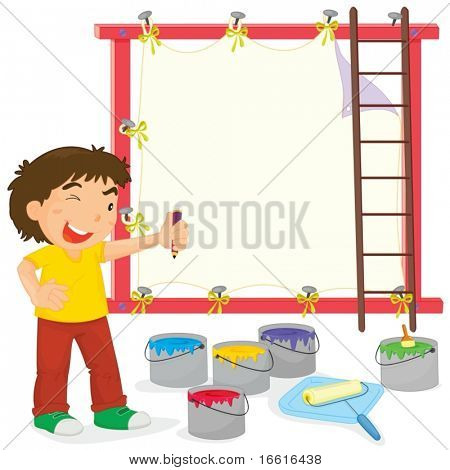 Illustration of a house painter