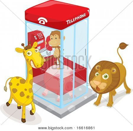 an illustration of animals and a telephone box